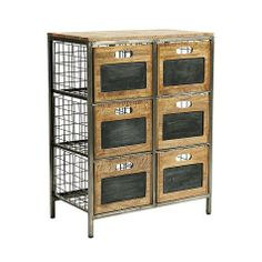 The authentic industrial design is a fun way to add storage in the office, den or kid's room. The sturdy metal frame supports six deep wire drawers. Wooden drawer fronts have chalkboard panels, so you can label them or add your own decorative touches.