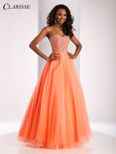Clarisse 2017 prom dress style 3012. A classic strapless ball gown with a sparkly bodice and lace up back. Available in four colors, including orange coral! | Promgirl.net