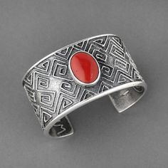 Tufa Cast Silver and Coral Cuff by Steve LaRance, Hopi