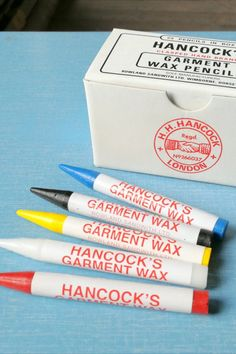 These wax crayons are traditionally used for marking worsted wool cloth. They are more solid and feel smoother to apply than chalk,  leaving a more resilient mark. #BeyondMeasure #sewing #tools Wax Crayons, Sewing Tools, How To Apply, How To Make, Wool
