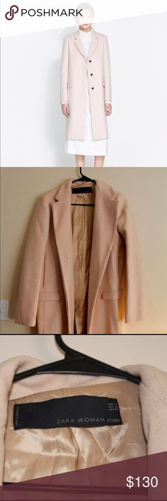 Zara Masculine Studio Overcoat in PINK AW 2013 M Zara Masculine Studio Overcoat in PINK. Sold out. Some wool pilling (see last photo). Other than that, EUC. ✅I trade ✅ Zara Jackets & Coats