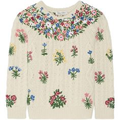 Valentino Embroidered wool and alpaca-blend sweater (66,020 MXN) ❤ liked on Polyvore featuring tops, sweaters, valentino, ivory, alpaca sweaters, cable sweater, low tops, wool sweater and embroidered top