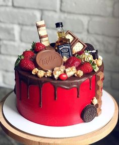 Alcohol Birthday Cake, 21st Birthday Cake For Guys, Birthday Cake For Boyfriend, Alcohol Cake, Funny Birthday Cakes, Elegant Birthday Cakes, Beautiful Birthday Cakes, Homemade Birthday Cakes, Birthday Cake Decorating