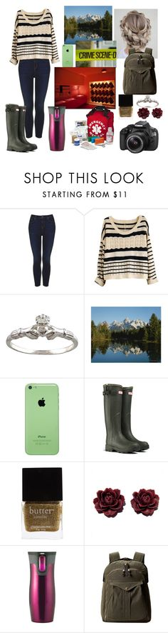 """Investigating a Crime Scene with Ferg-Louisa, Longmire OC"" by pianokeys2013 ❤ liked on Polyvore featuring Charlotte Russe, Topshop, Hunter, Butter London, Contigo, Eos, INC International Concepts and Filson"