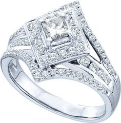 1 Carat Princess Center Diamond Ring 14K White Gold at Roy Rose Jewelry www.royrosejewelry.net