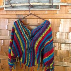 Gypsy poncho crochet pattern with tassel ties - perfect to add some style on…