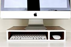 "Modern Computer Stand, Monitor Stand, Office Organizer, Desk Organizer, Walnut and White, size 17"" x 9"" x 3.375"""