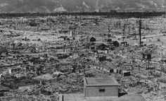 A view of Hiroshima and outlying hills, seen in the autumn of 1945, from the ruins of the Red Cross building, less than one mile from the hypocenter. (U.S. National Archives)