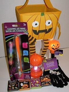 Fun Halloween Kit: Pumpkin Basket 4 Packs of Stickers LED Wand (Wrist Strap Included) A Pair of G @ niftywarehouse.com #NiftyWarehouse #Frankenstein #Halloween #Horror #HorrorMovies #ClassicHorror #Movies