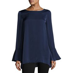 Max Studio Satin Bell-Sleeve Blouse ($59) ❤ liked on Polyvore featuring tops, blouses, navy, bell sleeve blouse, satin blouse, blue blouse, blue top and max studio tops