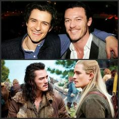 Orlando Bloom (Legolas) and Luke Evans (Bard the Bowman) of The Hobbit. Their similarities are startling