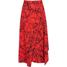 Proenza Schouler Red Flared Printed Crepe Wrap-effect Skirt ($450) ❤ liked on Polyvore featuring skirts, red flare skirt, proenza schouler, wrap midi skirt, wraparound skirt and red wrap skirt