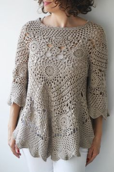 Latte Crochet Sweater by Afra  The sweater is perfect for spring and summer. Made with 100% cotton yarn. It is stylish and very cozy. Perfect addition to your feminine style.  Size: L, XL Cleaning: Machine wash under 30 degrees on gentle cycle and lay flat to dry.