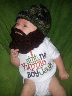 Camo Baby Beard Beanie You Choose Size and Colors by MoMmAb7, $25.00