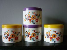 4X Vintage Retro Colourful Floral Kitsch Plastic Storage Containers Tea caddies | eBay