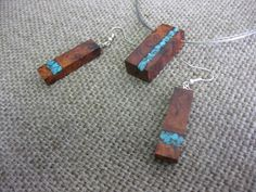 Amboyna burl and turquoise inlay necklace by NikibarsNatureArt