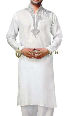 Mens hand embroidery work on high neck, left shoulder and cuffs kurta pyjama made from white color pure linen fabric. Get it tailor fit with free worldwide shipping.