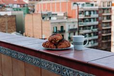 Coffee with croissants served in city cafe by Nadya&Eugene Photography #Coffee #NadyaEugenePhotography