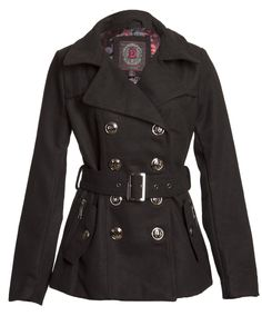 Amazon.com: (7555) Dollhouse Classic Wool Blend Double Breasted Long Pea Coat with Pop Print Lining in