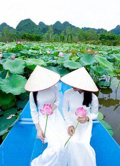 Two Vietnamese women in traditional dress with lotus flowers. by Hugh Sitton - Stocksy United Vietnamese Traditional Dress, Vietnamese Dress, Traditional Dresses, Stock Imagery, Lotus Pond, Boat Fashion, Vietnam Travel, Ao Dai, Pictures To Draw