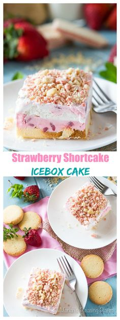 This Good Humor inspired Strawberry Shortcake Icebox Cake is just the thing to cool you down this summer. Swirls of fresh strawberry ice cream are sandwiched between thick slices of pound cake, whipped cream and a shortbread-strawberry topping.