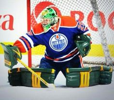 GBHKY style for the Edmonton Oilers. U of A Golden Bears 4th year goalie Kurtis Mucha filling in between the pipes for the Oilers at practice one day in the 2013-2014 season.