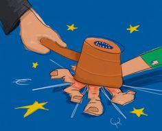 EU hammer judge illustration by Niek Gooren