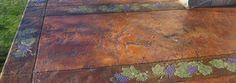Grapevine Border Art (BA100) with seamless stamped concrete pattern (Roman Slate)