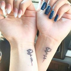 62 Unique Tattoos You'll Want to Get With Your Best Friend - Page 56 of Tattoo, best friend tattoos, friendship tattoos, couple tattoos, matching tattoos. Wrist Tattoos Girls, Cute Tattoos On Wrist, Girl Tattoos, Couple Tattoos, Small Bff Tattoos, Rose Wrist Tattoos, Bts Tattoos, Ankle Tattoos, Arrow Tattoos
