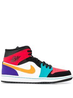Nike Air Jordan 1 Mid Sneakers In Black All Jordans, Black Jordans, Shoes Jordans, Tenis Nike Air, Nike Air Shoes, Jordan 1 Black, Jordan 1 Mid, Moda Sneakers, Shoes Sneakers