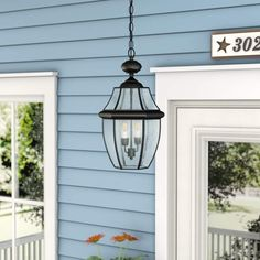 Charlton Home Washington Mews Outdoor Hanging Lantern Finish: Mystic Black Outdoor Sconce Lighting, Outdoor Hanging Lanterns, Outdoor Chandelier, Porch Lighting, Porch Light Fixtures, Hanging Light Fixtures, Beveled Glass, Incandescent Bulbs, Glass Panels