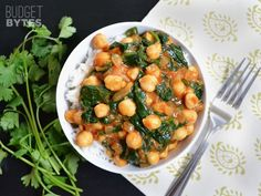 Canned coconut milk instead of water>Curried Chickpeas With Spinach