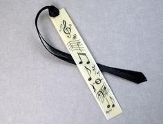 Scrimshaw Piano Key Bookmark with Musical Notes, Etcetera