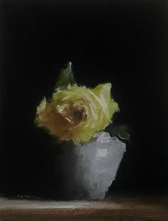 "Daily Paintworks - ""Yellow Rose"" - Original Fine Art for Sale - © Neil Carroll Easy Flower Painting, Flower Art, Flower Paintings, Art Flowers, Still Life Images, Still Life Flowers, Art Plastique, Yellow Roses, Fine Art Gallery"