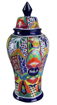 Hand Painted Talavera Urn with Lid