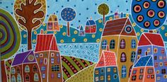 karla gerard art: Houses And Trees By The Water