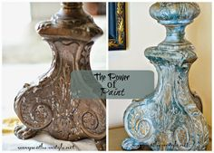 On Friday I showed y'all a little project I worked on recently and I left you hanging without showing you how it turned out. Well, here it . Annie Sloan Painted Furniture, Annie Sloan Paints, Paint Furniture, Furniture Makeover, Lamp Makeover, Plywood Furniture, Modern Furniture, Furniture Design, Chalk Paint Projects