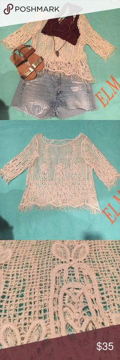 Adorable Lace Quarter-Sleeve Blouse Perfect condition! Never worn! So unbelievably cute! From local boutique! Tops Blouses