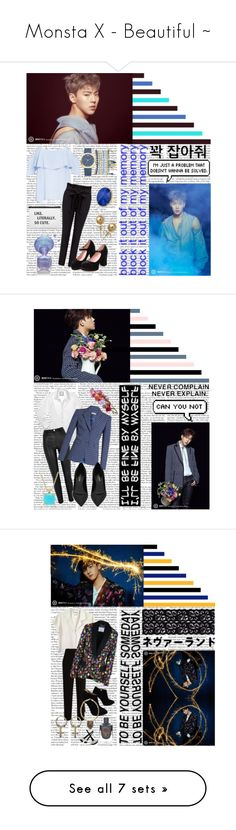 """Monsta X - Beautiful ~"" by bulletproof-girl-scout ❤ liked on Polyvore featuring BB Dakota, GET LOST, Bling Jewelry, Mixit, beautiful, hyunwoo, monstax, shownu, sonhyunwoo and Chanel"