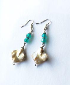 Sea Shell Earrings, Beach Earrings, Mermaid Earrings, Aqua and Natural  Shell Earrings, Long Boho Earrings, Beach Wedding https://www.etsy.com/listing/399681053/sea-shell-earrings-beach-earrings?utm_campaign=crowdfire&utm_content=crowdfire&utm_medium=social&utm_source=pinterest