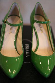 Green Prada shoes  oooh shiny green shoes!