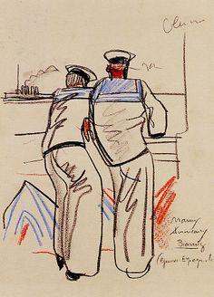 """""""Marins américains à Biarritz"""", musée Mathurin Méheut"""