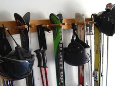 Snow Ski Storage Rack Wall Mount 4 Skis by WillowHeights on Etsy