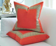"20""sq. Tangerine linen pillow cover with Greek Key border. $80.00, via Etsy."