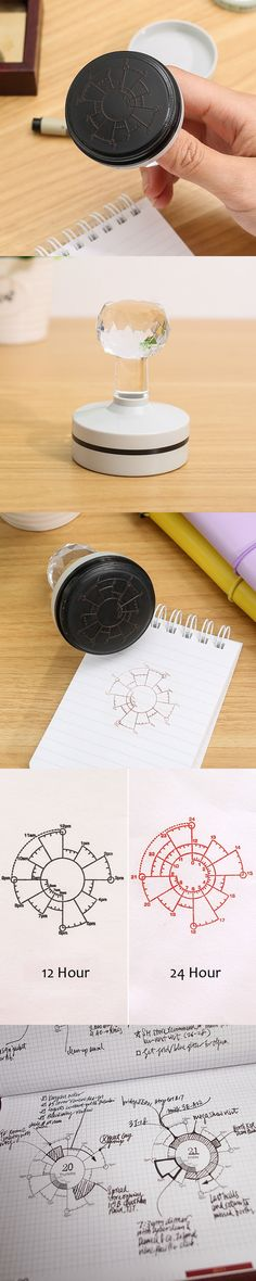 Chronodex 12/24 Hour Time Pie Charts Stamp For Planner Organizer Diary Notebook Time Seal Office Accessories Stationery Store