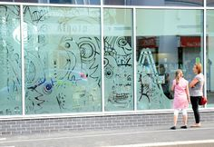 Today saw day one of the Hoyland Centre 'window doodle' installation. I was incredibly nervous, as several months of my life have been spent. Chalkboard Art, Visual Merchandising, Centre, Projects To Try, Doodles, Year 7, Windows, Print Ideas, Display