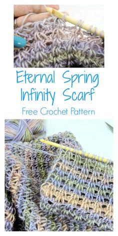 CrochetKim Free Crochet Pattern: Eternal Spring Infinity Scarf #redheartyarn #unforgettableyarn #tunisiancrochet #freecrochetpattern #beautifulcrochetlace