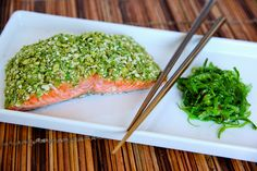 Wasabi Pea Salmon | The Daily Dish. Had this with halibut. I thought the wasabi peas might be too strong but they weren't.
