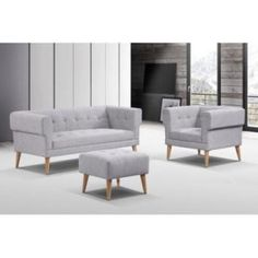 Modern-retro sofa set comprising of a 3 seater, armchair and ottoman. Seats are in buttoned fabric with wood legs in a natural finish. Online Furniture, Home Furniture, Furniture Design, Fabric Sofa, Grey Fabric, Lounge Couch, Retro Sofa, Lounge Suites, Wood Sofa