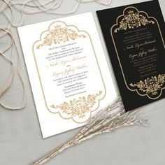 Timeless and Elegant Wedding Invitation Suite, White and Gold, Black and Gold, other color combinations possible. NEW Spring 2013 Collection on Etsy, NT$ 783.70
